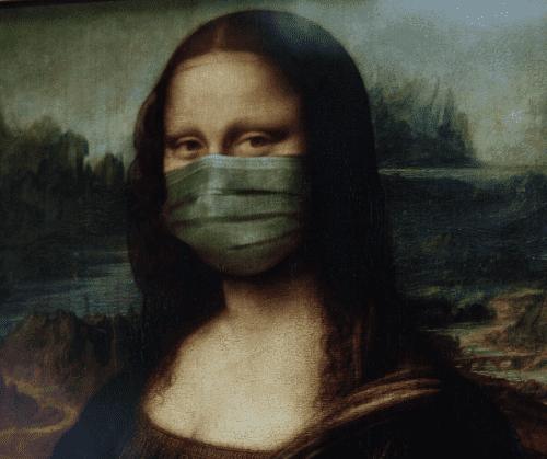 Mona Lisa mit Corona-Schutzmaske